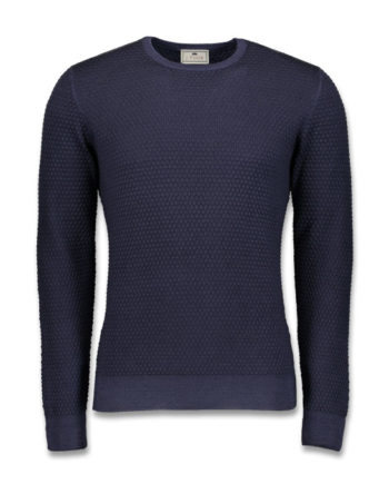 J.TOOR Knit - Navy Superfine Wool Crew Neck Sweater, Popcorn Stitch