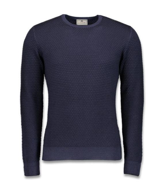 J.TOOR Knit - Navy Superfine Wool Crew Neck Sweater, Popcorn Stitch