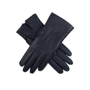 Dents – LADIES Navy Deerskin Leather Gloves w Red Cashmere Lining