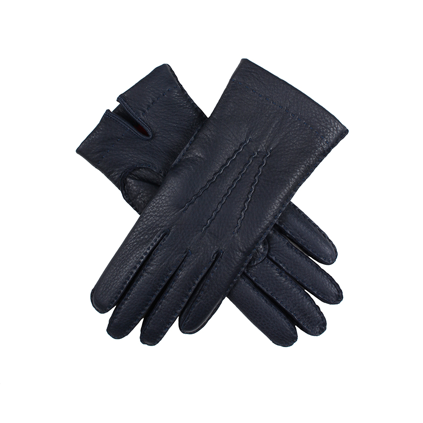 Dents - LADIES Navy Deerskin Leather Gloves w Red Cashmere Lining