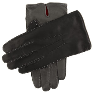 Dents Men's Heritage Glove – Alnwick – BlackGrey Hairsheep w Red Cashmere Lining