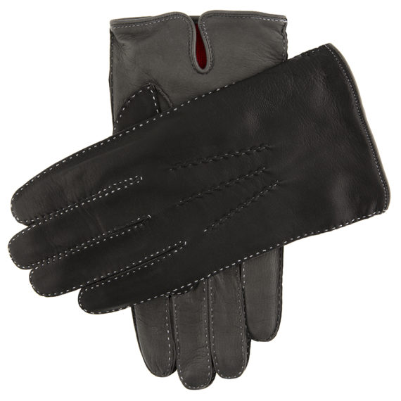Dents Men's Heritage Glove - Alnwick - BlackGrey Hairsheep w Red Cashmere Lining