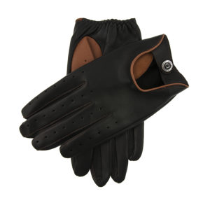 Dents – Mens – Two Colour Leather Driving Gloves – BLKHigh Tan Hairsheep 15-1091