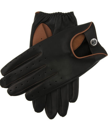 Dents - Mens - Two Colour Leather Driving Gloves - BLKHigh Tan Hairsheep 15-1091