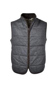 J.TOOR – Hall – WoolCashmere Quilted Vest – Grey Herringbone