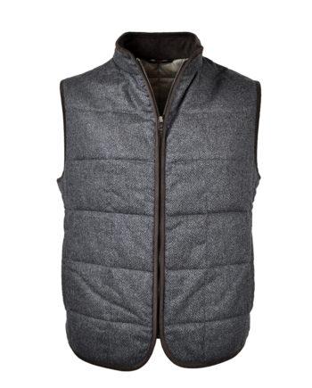 J.TOOR - Hall - WoolCashmere Quilted Vest - Grey Herringbone