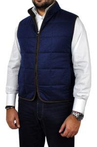 J.TOOR – Hall – WoolCashmere Quilted Vest – Navy Herringbone 1