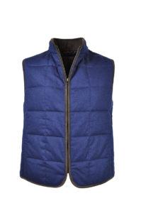 J.TOOR – Hall – WoolCashmere Quilted Vest – Navy Herringbone