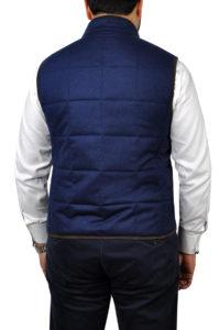 J.TOOR – Hall – WoolCashmere Quilted Vest – Navy Herringbone 2