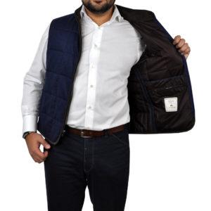 J.TOOR – Hall – WoolCashmere Quilted Vest – Navy Herringbone 3