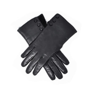 Dents – LADIES Leather Gloves with Fur Trim & Buttons (Sophie) – Black Hairsheep