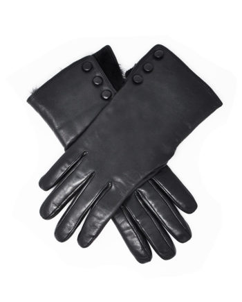 Dents - LADIES Leather Gloves with Fur Trim & Buttons (Sophie) - Black Hairsheep