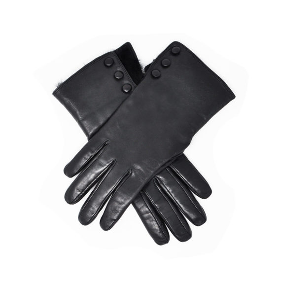 cfc70bf3b5450 Dents - LADIES Leather Gloves with Fur Trim   Buttons (Sophie) - Black  Hairsheep