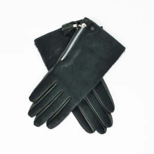 Dents – LADIES Ponyhair Back Side Zip Glove (Lucia) – Evergreen Hairsheep