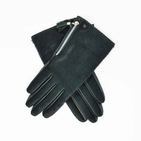 Dents - LADIES Ponyhair Back Side Zip Glove (Lucia) - Evergreen Hairsheep