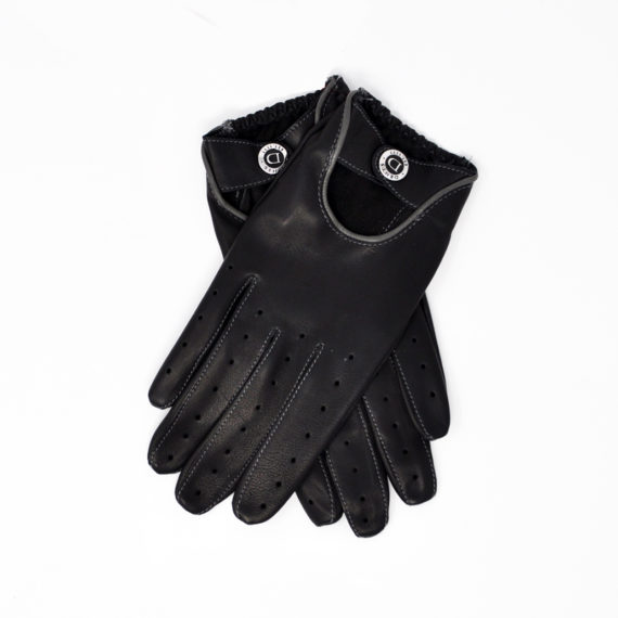 Dents - Mens - Two Colour Leather Driving Gloves - BLKGRY Hairsheep 15-1091