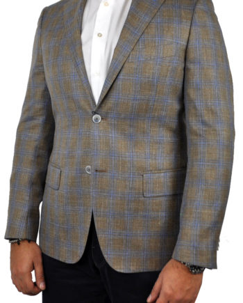 J.TOOR Tailored Sport Jacket - Loro Piana - Brown wBlue Double Windowpane - WOSELI