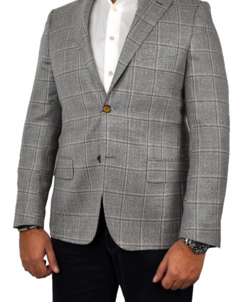 J.TOOR Tailored Sport Jacket - Loro Piana - Grey wBrown Windowpane - LinenTweed