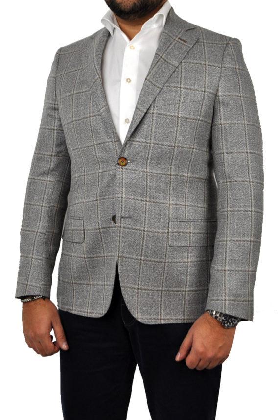 J.TOOR Tailored Sport Jacket - Loro Piana - Grey wBrown Windowpane - LinenTweed