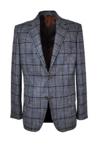 J.TOOR Tailored Sport Jacket – VBC – Grey & Navy Houndstooth w Rust Windowpane