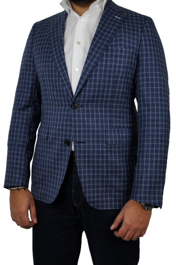 J.TOOR Tailored Unstructured Jacket - Lanificio di Pray WoolSilk - Blue Check