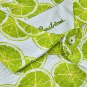 Stenstroms Fitted Body Men Polo Shirt, Lime Slices Pattern 2