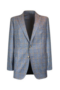 Tye – Unstructured Sport Jacket – Brick Windowpane on RAF Blue 1.1